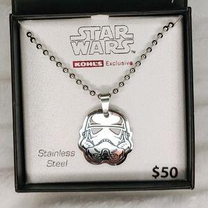 "NIB Star Wars Storm Trooper Helmet 18"" necklace"